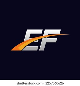 Initial letters EF vector illustrations designs overlapping with orange swoosh vector for company or factory logo on blue dark background.