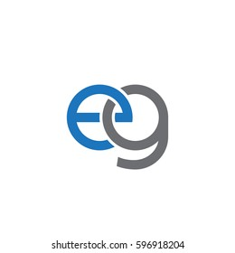 Initial letters eg, round linked chain shape lowercase logo modern design blue gray