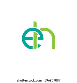 Initial letters eh, round linked chain shape lowercase logo modern design modern green