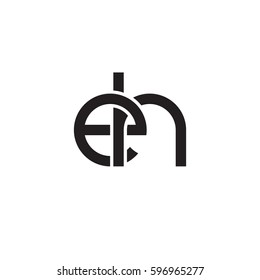Initial letters eh, round linked chain shape lowercase logo modern design monogram black