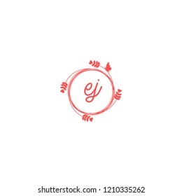 initial letters ej beauty spa logo design, with flower, love and butterfly illustration