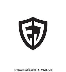 Initial letters EJ shield shape black monogram logo