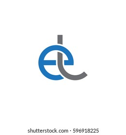 Initial letters el, round linked chain shape lowercase logo modern design blue gray