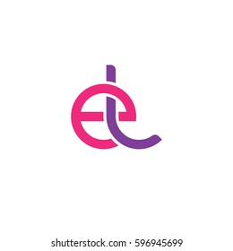 Initial letters el, round linked chain shape lowercase logo modern design pink purple