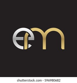 Initial letters em, round linked chain shape lowercase logo modern design silver gold