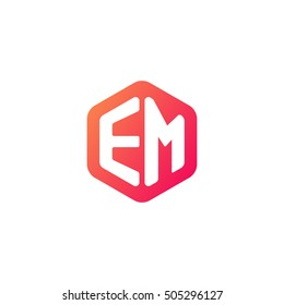 Initial letters EM rounded hexagon shape red orange simple modern logo