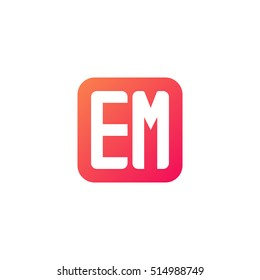 Initial letters EM rounded square shape red orange simple logo
