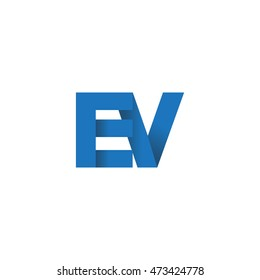 Initial letters EV overlapping fold logo blue