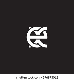 Initial letters ex, round linked chain shape lowercase logo modern design white black background