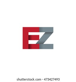 Initial letters EZ overlapping fold logo red gray