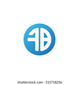 Initial letters FB circle shape blue simple logo