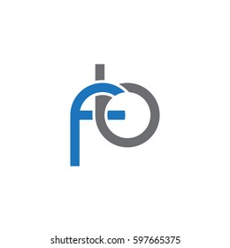 Initial letters fb, round linked chain shape lowercase logo modern design blue gray