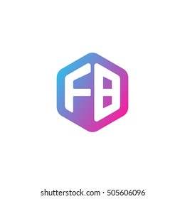 Initial letters FB rounded hexagon shape blue pink purple simple modern logo