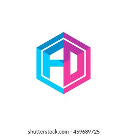 Initial letters FD, FO, hexagon box shape logo blue pink purple