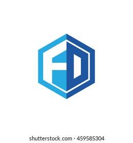 Initial letters FD, FO, negative space hexagon shape logo blue