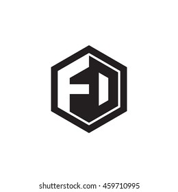 Initial letters FD, FO, negative space hexagon shape monogram logo
