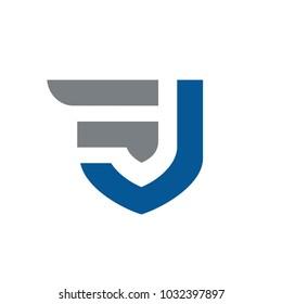 Initial letters FJ or JF, Vector Logo Design