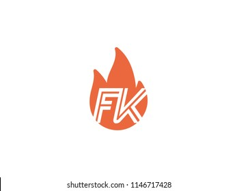 Initial letters FK in fire. Logo vector