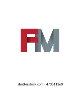 Initial letters FM overlapping fold logo red gray