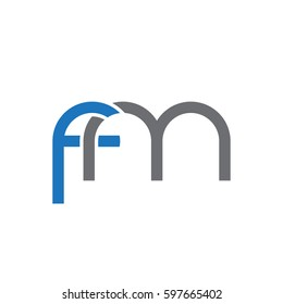 Initial letters fm, round linked chain shape lowercase logo modern design blue gray