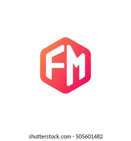 Initial letters FM rounded hexagon shape red orange simple modern logo