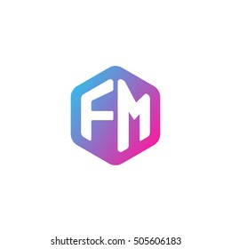 Initial letters FM rounded hexagon shape blue pink purple simple modern logo