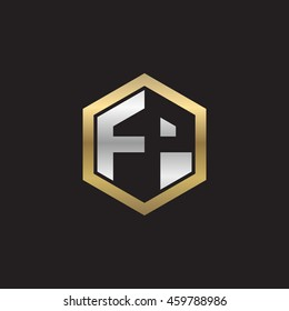 Initial letters FP negative space hexagon shape logo silver gold