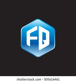 Initial letters FQ rounded hexagon shape blue modern logo