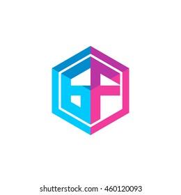Initial letters GF hexagon box shape logo blue pink purple