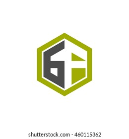 Initial letters GF negative space hexagon shape logo green black gray