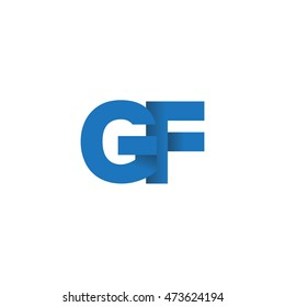 Initial letters GF overlapping fold logo blue