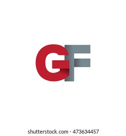 Initial letters GF overlapping fold logo red gray