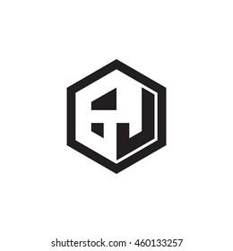 Initial letters GJ negative space hexagon shape monogram logo