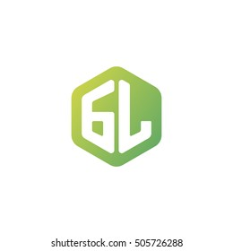 Initial letters GL rounded hexagon shape green simple modern logo