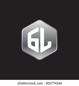Initial letters GL rounded hexagon shape silver modern logo