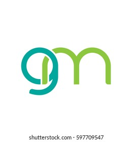 Initial letters gm, round linked chain shape lowercase logo modern design modern green