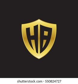 Initial letters HB shield shape gold logo