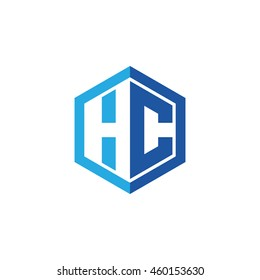 Initial letters HC negative space hexagon shape logo blue