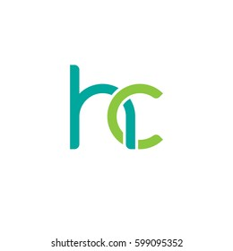 Initial letters hc, round linked overlapping chain shape lowercase logo modern design modern green