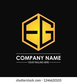 Initial letters EG hexagon shape logo design black gold