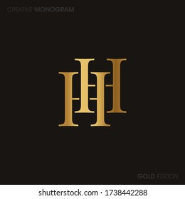Initial letters hh linked monogram logo vector. Business logo monogram with two overlap letters inside circle isolated on white background.