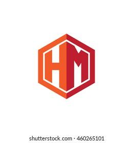 Initial letters HM hexagon shape logo red orange