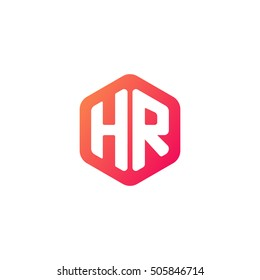 Initial letters HR rounded hexagon shape red orange simple modern logo
