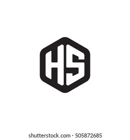 Initial letters HS rounded hexagon shape monogram black simple modern logo