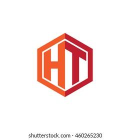 Initial letters HT hexagon shape logo red orange