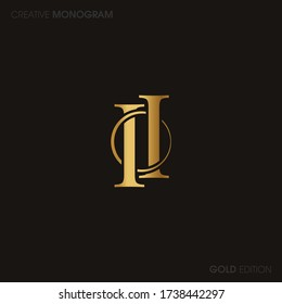 Initial letters ii linked monogram logo vector. Business logo monogram with two overlap letters inside circle isolated on white background.