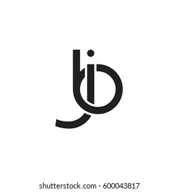 Initial letters jb, bj, round linked overlapping chain shape lowercase logo modern design monogram black