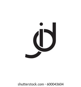 Initial letters jd, dj, round linked overlapping chain shape lowercase logo modern design monogram black
