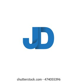 Initial letters JD overlapping fold logo blue