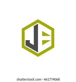 Initial letters JE negative space hexagon shape logo green black gray